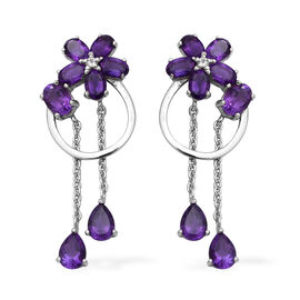 Lusaka Amethyst and Natural Cambodian Zircon Floral Dangle Earrings (with Push Back) in Rhodium Over