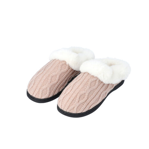 Knitted Slippers with Faux Fur (Size M: 5-6) - Dusty Pink