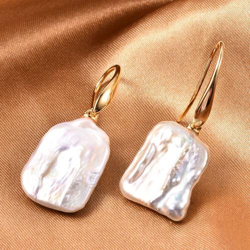 Baroque Pearl Fancy Hook Earrings in Yellow Gold Overlay Sterling Silver