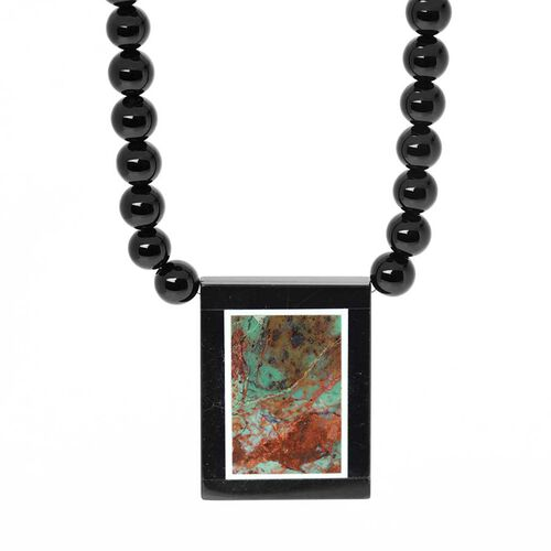 Enhanced Black Agate, Natural Peruvian Mint Green Opal Necklace (Size 18) in Stainless Steel 160.000 Ct.