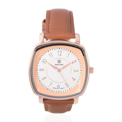 STRADA Japanese Movement Water Resistant Watch with Brown Strap