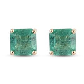 9K Yellow Gold AAA Kagem Zambian Emerald Solitaire Stud Earrings (with Push Back) 1.05 Ct.