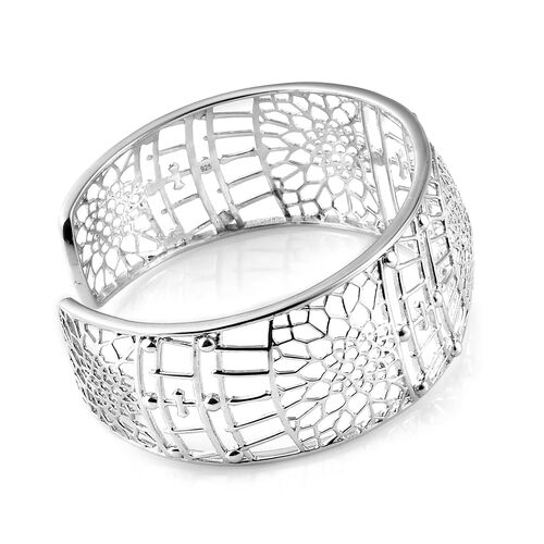 Platinum Overlay Sterling Silver Cuff Bangle (Size 7.5).Silver Wt 23.50 Gms