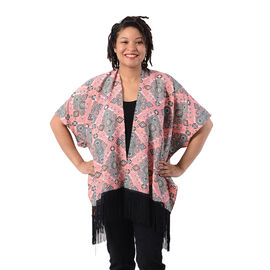 Printed Kimono with Tassel in Pink (Size 90x70+15cm)
