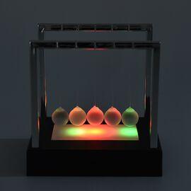 Newton LED Changing Light Cradle Pendulum Balance Five Glass Balls Desk Toy (Size 15x11.2 Cm) - Blac