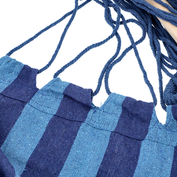 Striped Hanging Rope Hammock Swing Seat with 2 Cushions (Size 100x130cm) - Light and Dark Blue