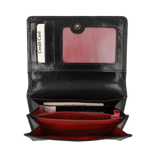 SUKRITI 100% Genuine Leather RFID Protected Tree Wallet (Size 11.5x20.5x2.5cm) - Black