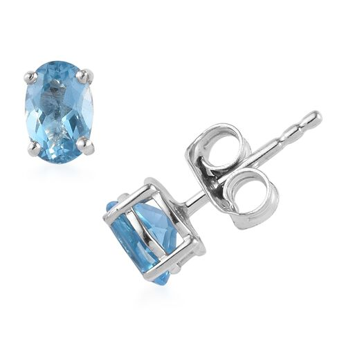 Set of 7 - Blue Topaz (Ovl), Multi Gemstone Stud Earrings (with Push Back) in Platinum Overlay Sterling Silver 6.75 Ct, Silver wt 5.65 Gms