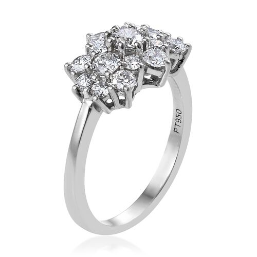 Super Auction- RHAPSODY 950 Platinum IGI Certified Diamond (Rnd) (VS/E-F) Cluster Ring 1.000 Ct.