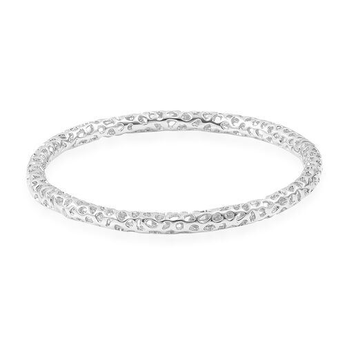 RACHEL GALLEY Rhodium Plated Sterling Silver Lattice Bangle (Size 7.5/ Small), Silver wt. 18.49 Gms.