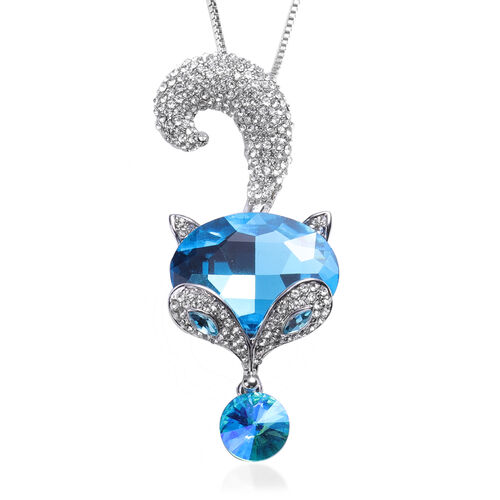 Simulated Blue Topaz, Simulated Apatite and White Austrian Crystal Fox Design Pendant With Chain (Si