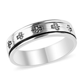 Artisan Crafted Sterling Silver Flower Spinner Band Ring (Size P), Silver wt 4.30 Gms