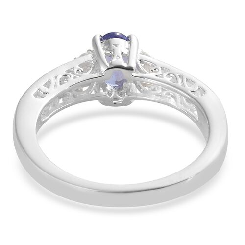 Tanzanite (Ovl), Natural Cambodian Zircon Ring in Sterling Silver 0.750 Ct.