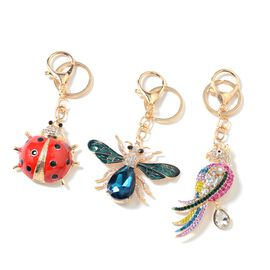 3 Piece Set -  Multi Colour Austrian Crystal and Multi Colour Simulated Diamond Lady Bird, Dragonfly and Parrot Key Chain with Lobster Lock in Gold Tone with Enameled