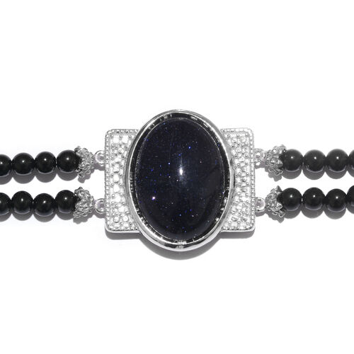 Blue Sandstone (Ovl 17.00 Ct), Quartsite Dual Strand Bracelet (Size 7.5) in ION Plated Platinum Bond and Stainless Steel 34.250 Ct.