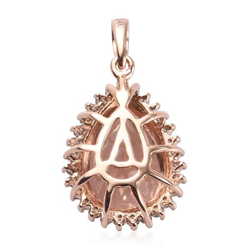 14K Rose Gold AAA Marropino Morganite and Diamond (I2-I3/G-H) Pendant 4.75 Ct.
