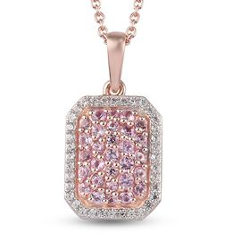 Pink Sapphire and Natural Cambodian Zircon Cluster Pendant with Chain(Size 20 ) in Rose Gold Overlay