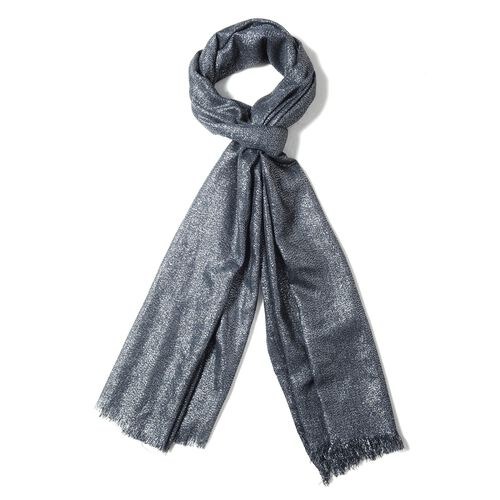 Italian Designer Inspired- Shining Black and Silver Colour Shawl (Size 204x100 Cm)