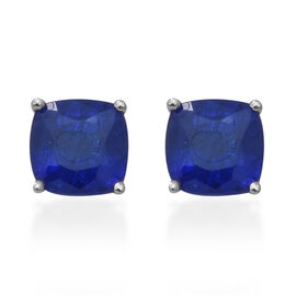 Tanzanian Blue Spinel Stud Earrings (with Push Back) in Rhodium Overlay Sterling Silver 1.34 Ct.