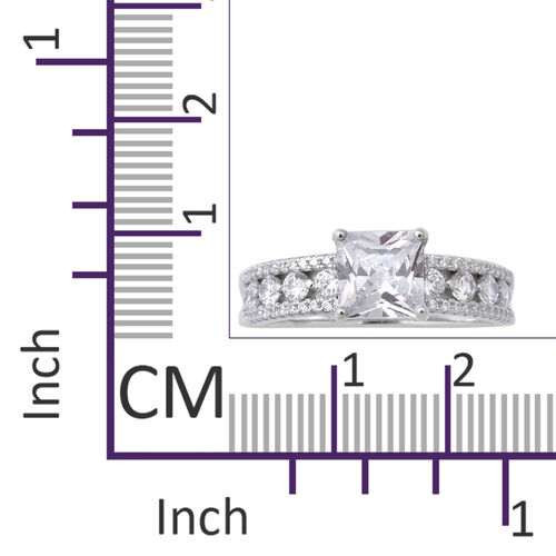 ELANZA Simulated Diamond Ring in Rhodium Overlay Sterling Silver 4.15 Ct.
