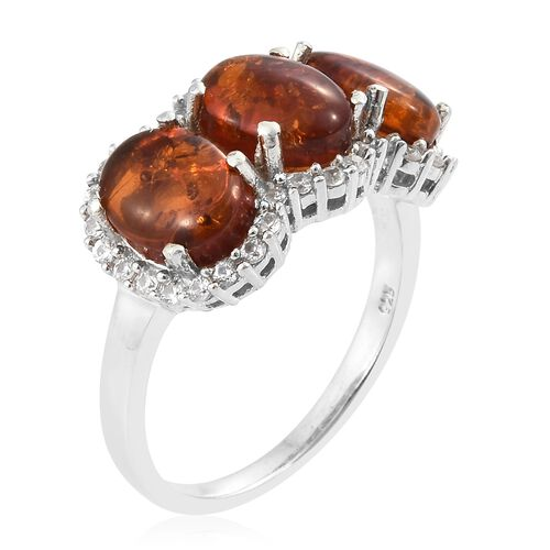 Baltic Amber (Ovl), Natural Cambodian Zircon Ring in Platinum Overlay Sterling Silver 3.250 Ct.