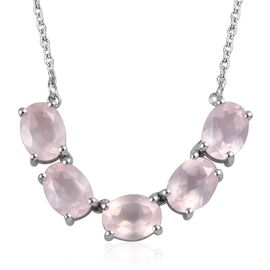 Rose Quartz Necklace (Size 18) in Platinum Overlay Sterling Silver 5.75 Ct.