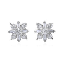 9K White Gold SGI Certified Diamond (I 3/G-H) Stud Earrings (with Push Back) 0.25 Ct.