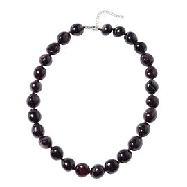 Extremely Rare - Mozambique Garnet Necklace (Size 18 with 2 inch Extender) in Rhodium Overlay Sterli