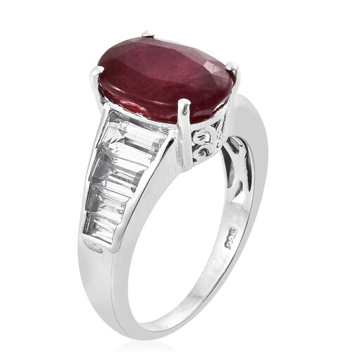 Rare African Ruby (Ovl 8.25 Ct), White Topaz Ring in Platinum Overlay Sterling Silver 11.500 Ct. Silver wt 5.31 Gms.