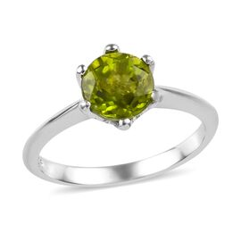 Hebei Peridot (Rnd) Solitaire Ring in Platinum Overlay Sterling Silver 1.50 Ct.