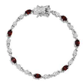 Mozambique Garnet Bracelet (Size 7.5) in Platinum Plated 3.75 Ct.