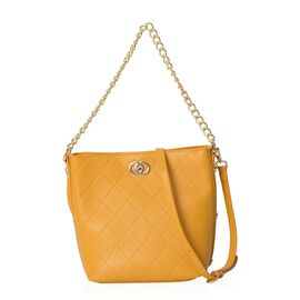 100% Genuine Leather Yellow Colour Shoulder Bag with Removable Shoulder Strap (Size 27x20.5x25x13 Cm