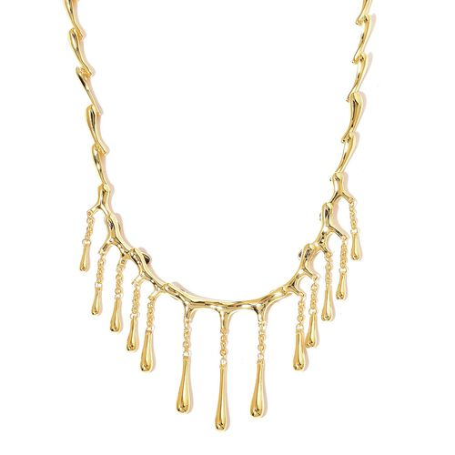 LucyQ Multi Drip Necklace in Gold Plated Silver 44.51 Grams 16 with 4 inch Extender