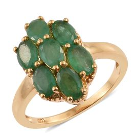 3 Carat Kagem Zambian Emerald Cluster Ring in Gold Plated Silver