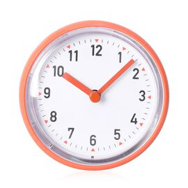 Rain - Shower Proof Clock with Vaccum Suction Back Orange Colour