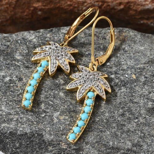 Arizona Sleeping Beauty Turquoise (Rnd) Natural Cambodian Zircon Lever Back Tree Earrings in 14K Gold Overlay Sterling Silver 1.000  Ct.
