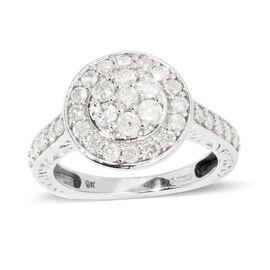 9K W Gold SGL Certified Diamond (G-H/I3) (Rnd) Ring 1.000 Ct.