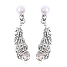 Simulated Pearl and Simulated Diamond and White Austrian Crystal Feather Earrings in Silver Tone