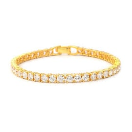 ELANZA Swiss Star Cut Cubic Zirconia Tennis Bracelet in Gold Plated Silver 10.50 Grams 7.5 Inch