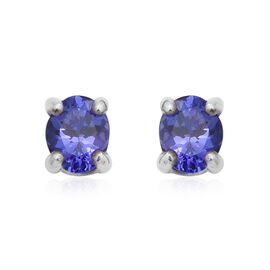 Premium Tanzanite Solitaire Stud Earrings in Rhodium Plated Sterling Silver