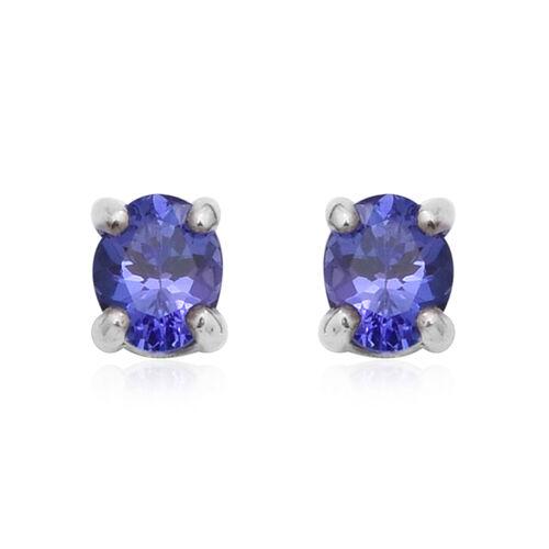 Premium Tanzanite Solitaire Stud Earrings in Rhodium Plated Sterling Silver
