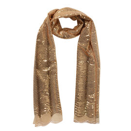 Scallop Pattern Sequin Scarf (Size 58x190 Cm) - Gold