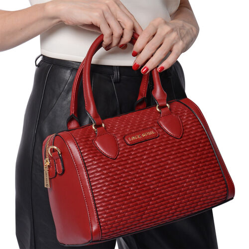 LOCK SOUL Red Colour Corn Grain Textured Satchel Bag with Detachable Shoulder Strap (Size 28x15x21 Cm)