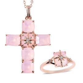 2 Piece Set - Simulated Rose Quartz and Simulated White Diamond Ring and Cross Pendant with Chain (S