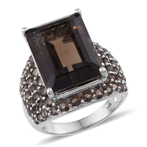 Brazilian Smoky Quartz (Oct 13.50 Ct) Ring in Platinum Overlay Sterling Silver 17.000 Ct.