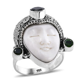 Princess Bali Collection OX Bone Carved Face (Pear) and Russian Diopside Ring in Sterling Silver 3.0