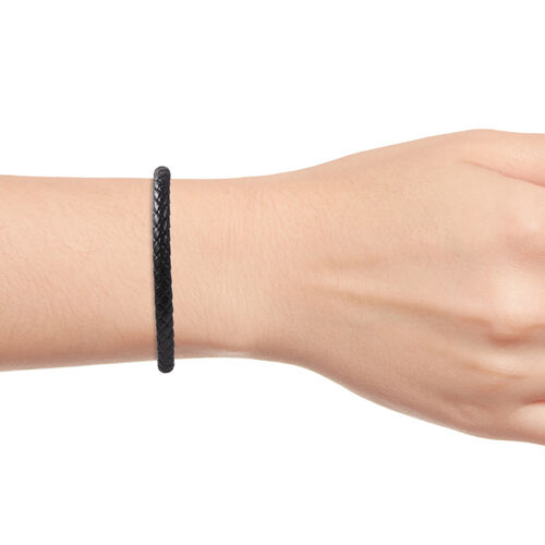 Genuine Braided Leather Bracelet (Size 8) in Stainless Steel