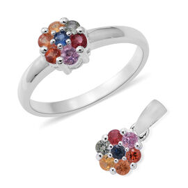 One Time Mega Deal- Set of 2- Rainbow Sapphire (Rnd) Flower Ring and Pendant in Sterling Silver 1.150 Ct.