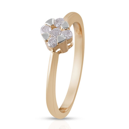 9K Yellow Gold Diamond (Rnd) Ring 0.250 Ct.