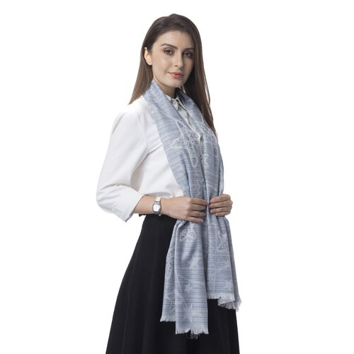 Blue and Multi Colour Star Pettern Scarf (Size 180x68 Cm)